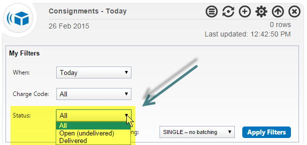 New Consignment Note Widget